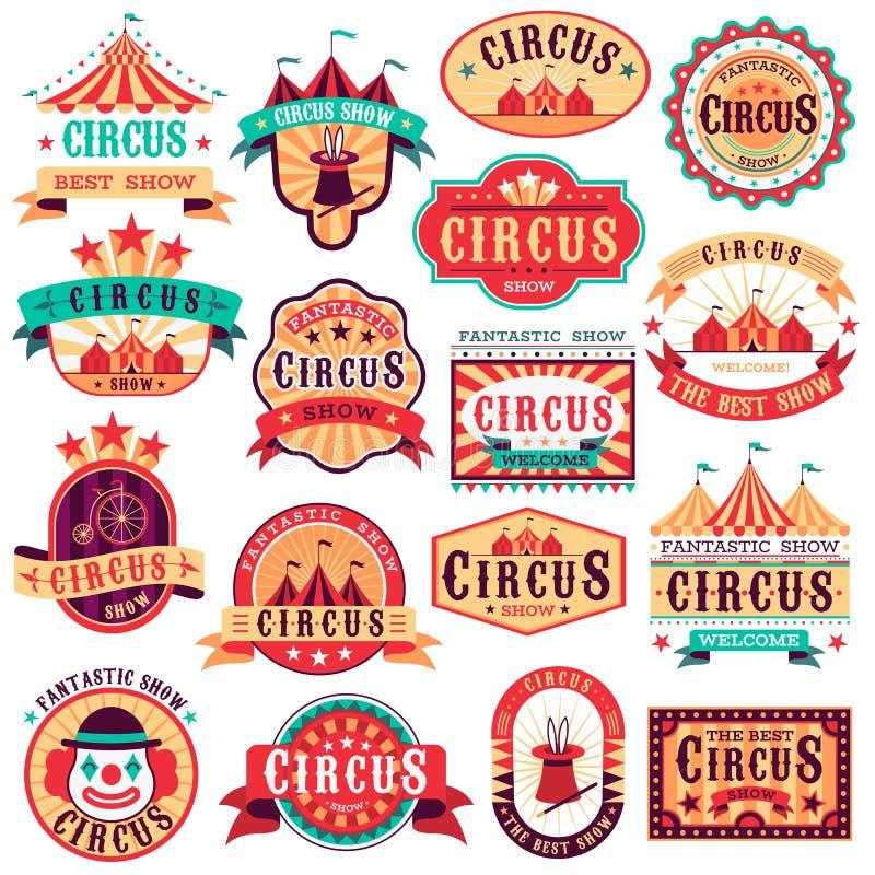 Zirkusembleme Karnevalsfestival, Einladungsfahnenereignis des Spaßzirkusshowretro- Papierschildes gestaltet Pfeil lizenzfreie abbildung