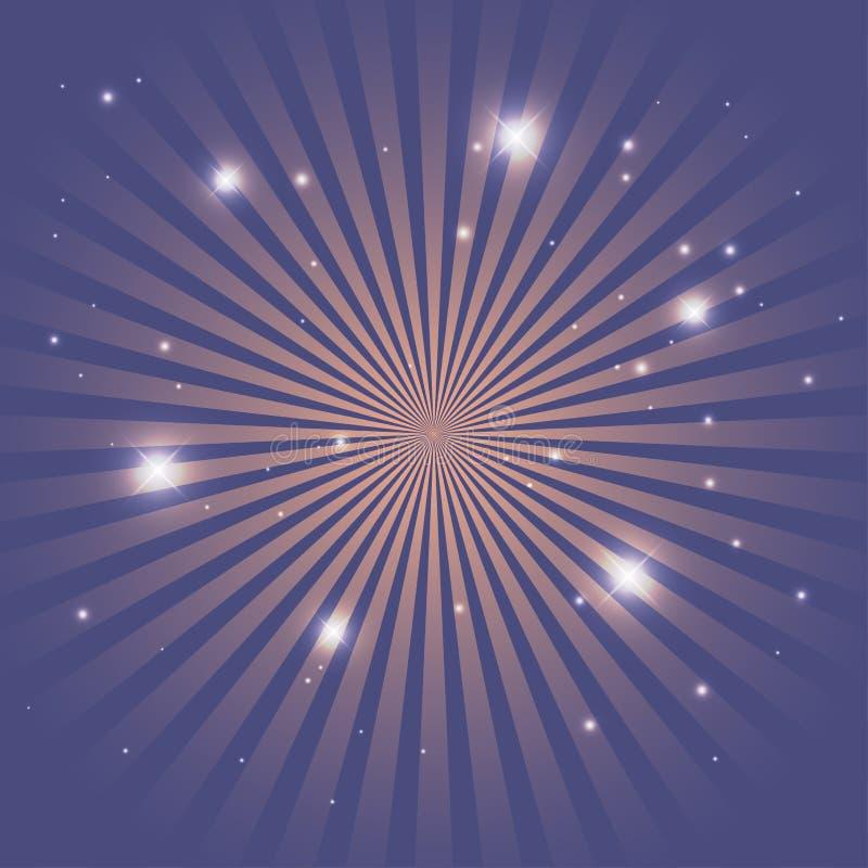 Zirkushintergrund von blauen Linien Streifen mit Sternkonstellationen Retro- Sonnenstrahlenschablone f?r Fahne, Einladungsflieger stock abbildung