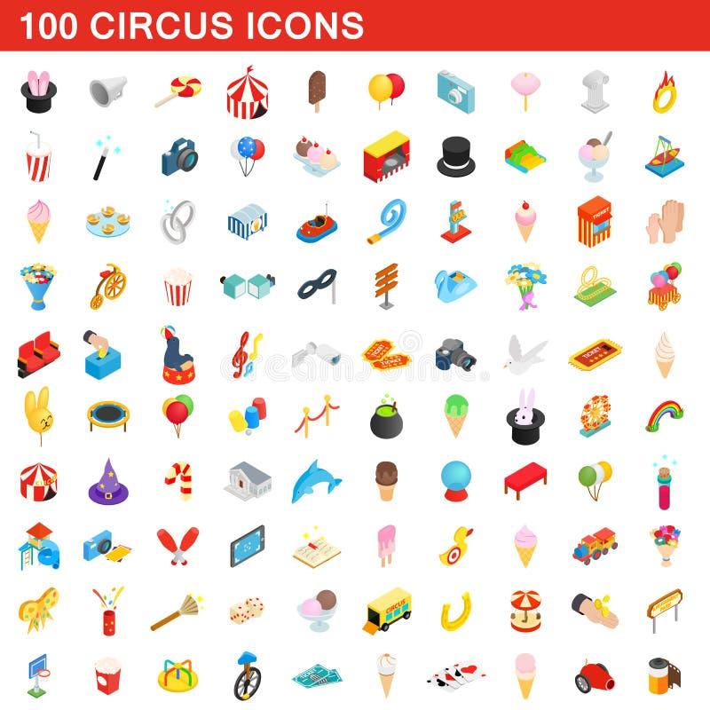 100 Zirkusikonen eingestellt, isometrische Art 3d stock abbildung