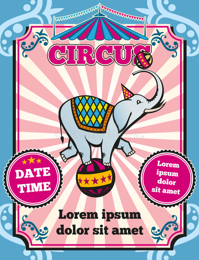 Zirkuskarnevalsfarbweinlese-Vektorschablone stock abbildung