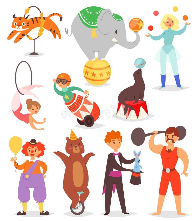 Zirkusleute vector Akrobaten und Clown mit ausgebildeten Tiercharakteren im Zirkuszeltillustrationssatz des Magiers und lizenzfreie abbildung