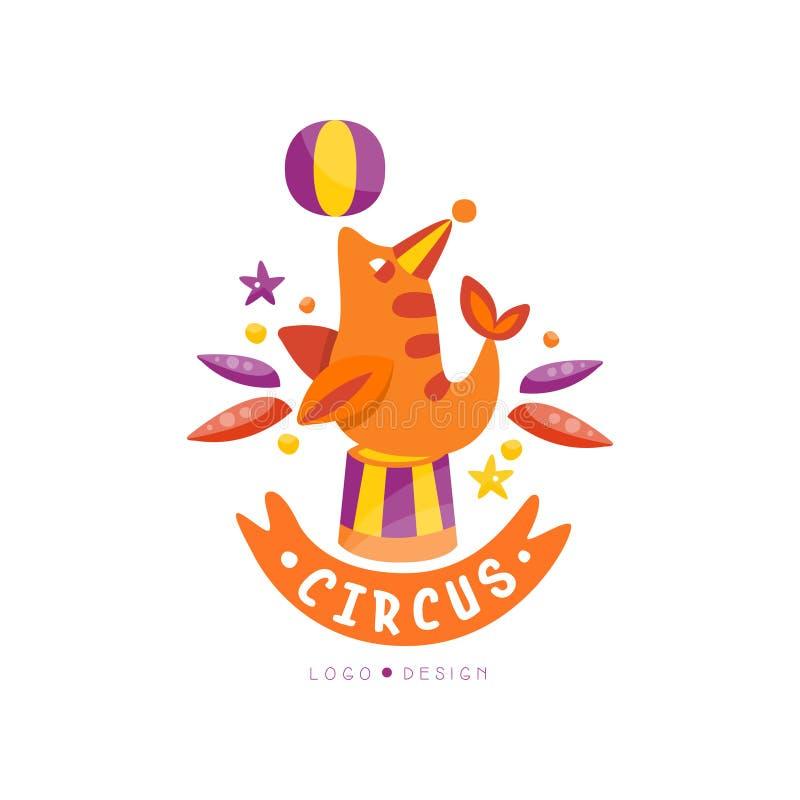 Zirkuslogoentwurf, Karneval, festlich, Zirkusshowaufkleber, Ausweis, Handgezogene Schablone von flyear, Plakat, Fahne vektor abbildung