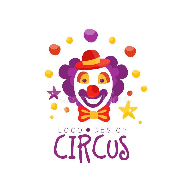 Zirkuslogoentwurf, Karneval, festlich, Zirkusshowaufkleber mit Clown, Handgezogene Schablone von flyear, Plakat, Fahne stock abbildung