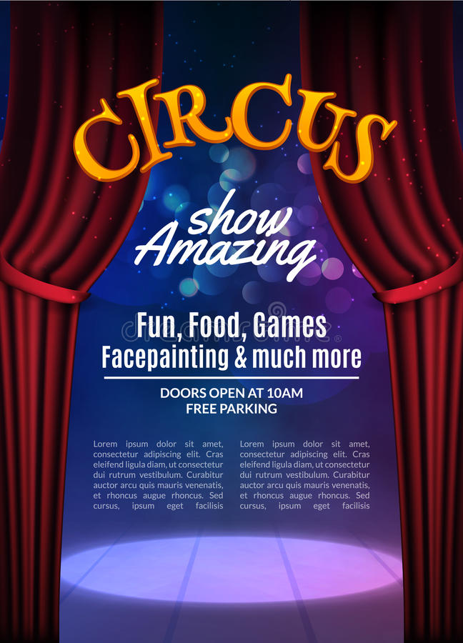 Zirkusshow-Plakatschablone mit Zeichen Festliche Zirkuseinladung Vektorkarnevalsshow-Hintergrundillustration lizenzfreie abbildung