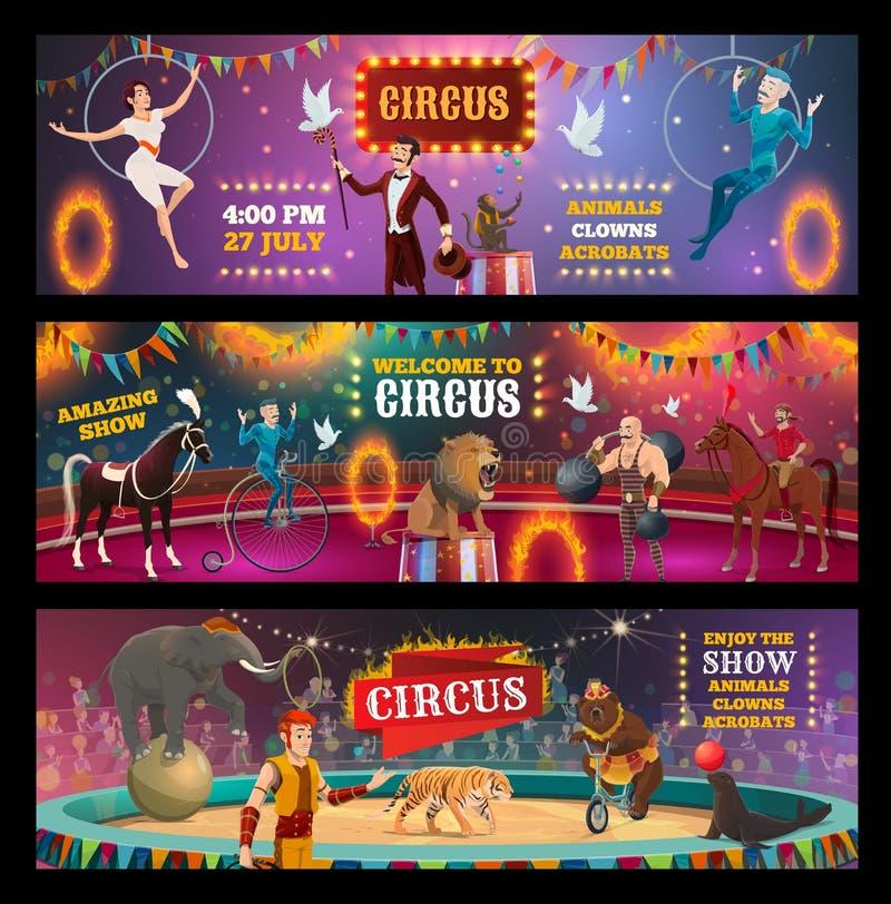 Zirkusshowclown, -tiere, -magier und -akrobaten stock abbildung