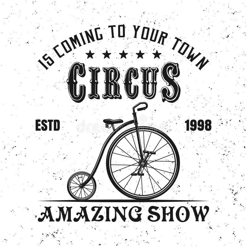Zirkusweinlese-Vektoremblem mit Jongleurfahrrad lizenzfreie abbildung