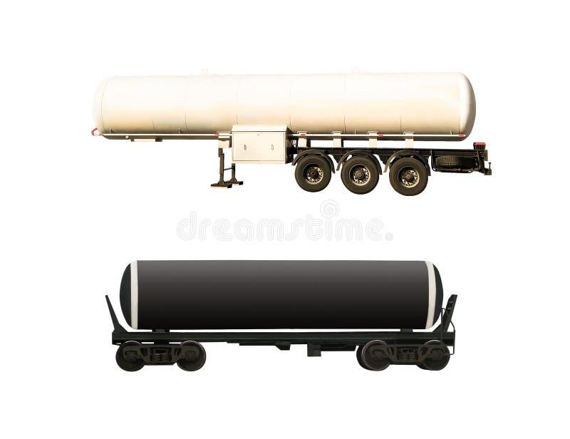 Zisternen-LKW und Bahnbehälter stockfoto