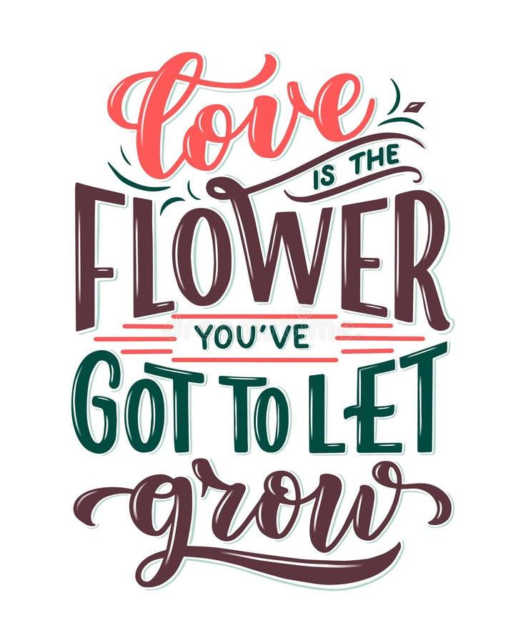Zitat über Blumen beschriften, Illustration gemacht im Vektor Postkarte, Einladung und T-Shirt entwerfen mit handdrawn Zusammense lizenzfreie abbildung