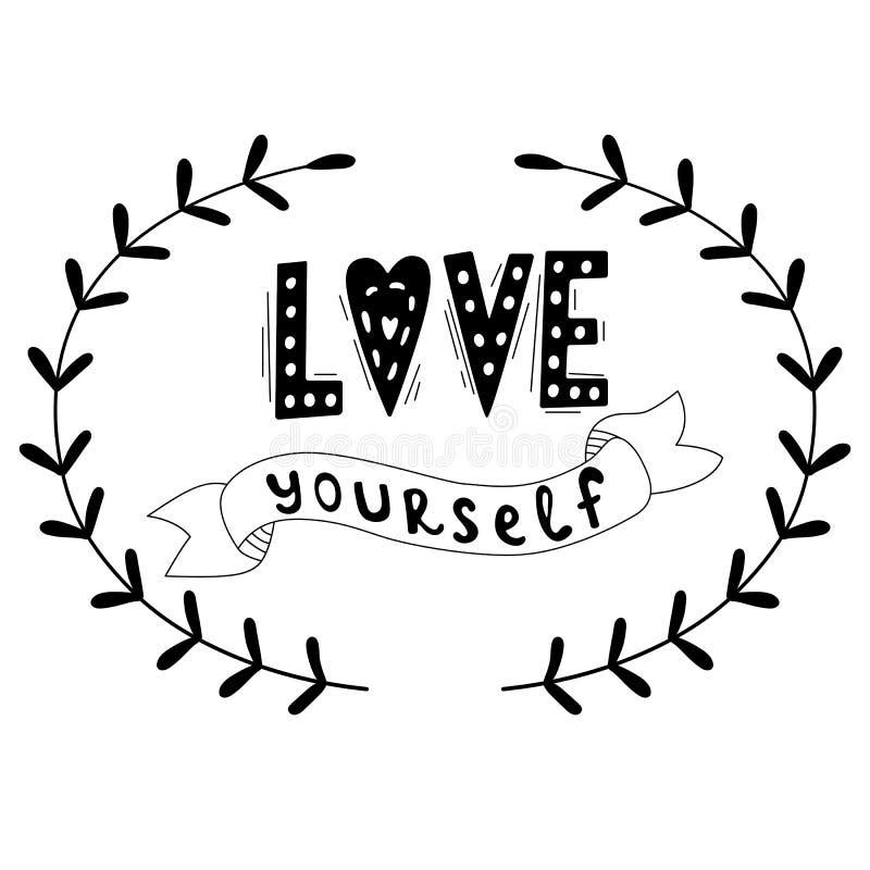 Zitat der Liebe sich Schwarzweiss-Beschriftung Tr?ume arbeiten nicht, es sei denn, dass Sie tun Vektorillustrationsentwurf für Te lizenzfreie abbildung