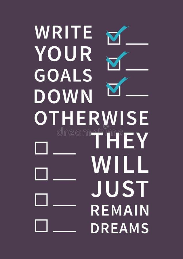 Zitat für Inspiration und Motivation lizenzfreie abbildung