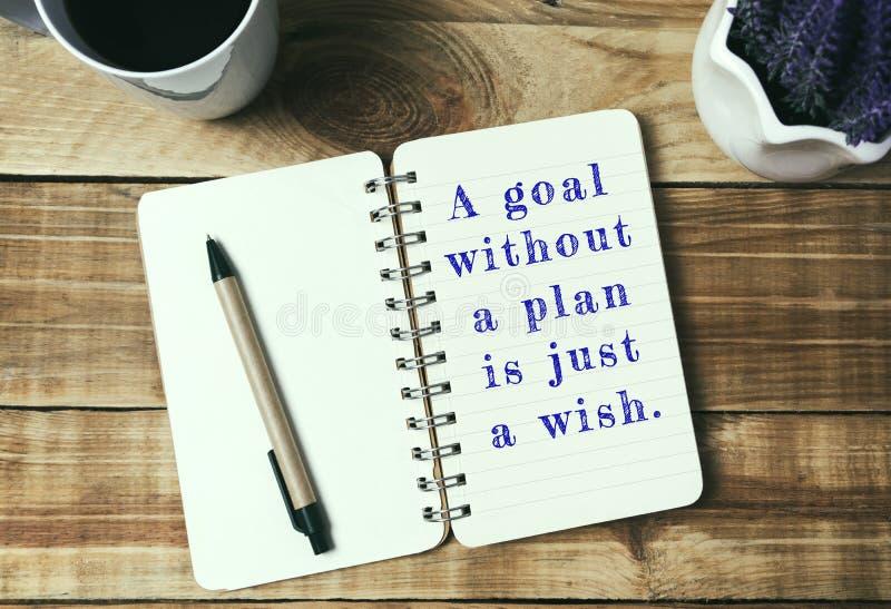 Zitate - ein Ziel ohne einen Plan ist gerade ein Wunsch stockbild