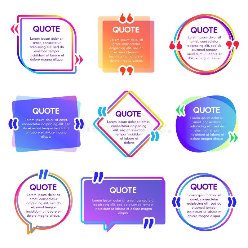 Zitatkastenrahmen Erwähnungstextrahmen, Anmerkungsspracheblase und Sätze zitiert Wortkasten-Vektorsatz stock abbildung