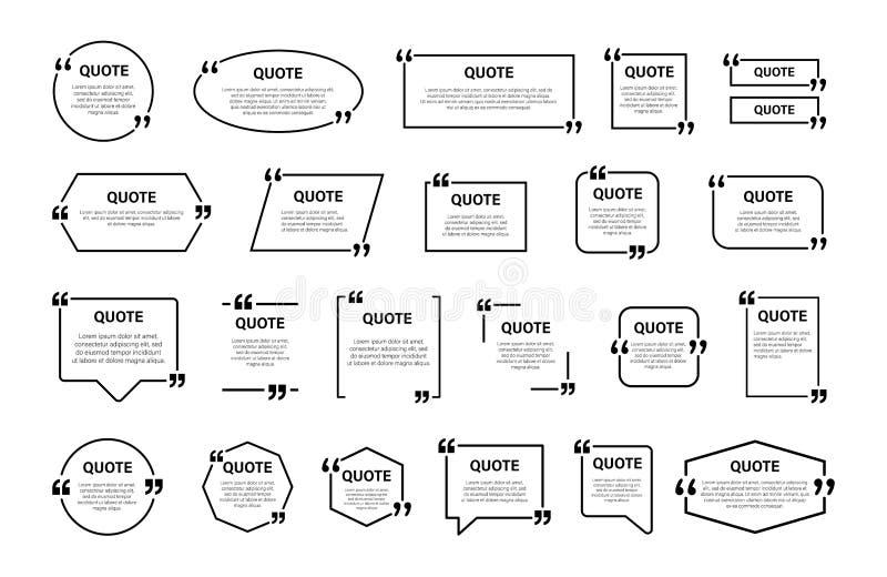 Zitatkastenrahmen, großer Satz Simsende Zitatkästen Leere Schablonenzitattextinformationsentwurfskastenzitatblasen-Blogzitate lizenzfreie abbildung