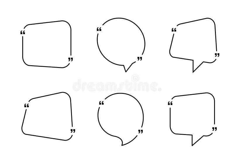 Zitatkastenrahmen Zitatblase oder Zitatsymbole für Blog Simsende Zitatk?sten lizenzfreie abbildung