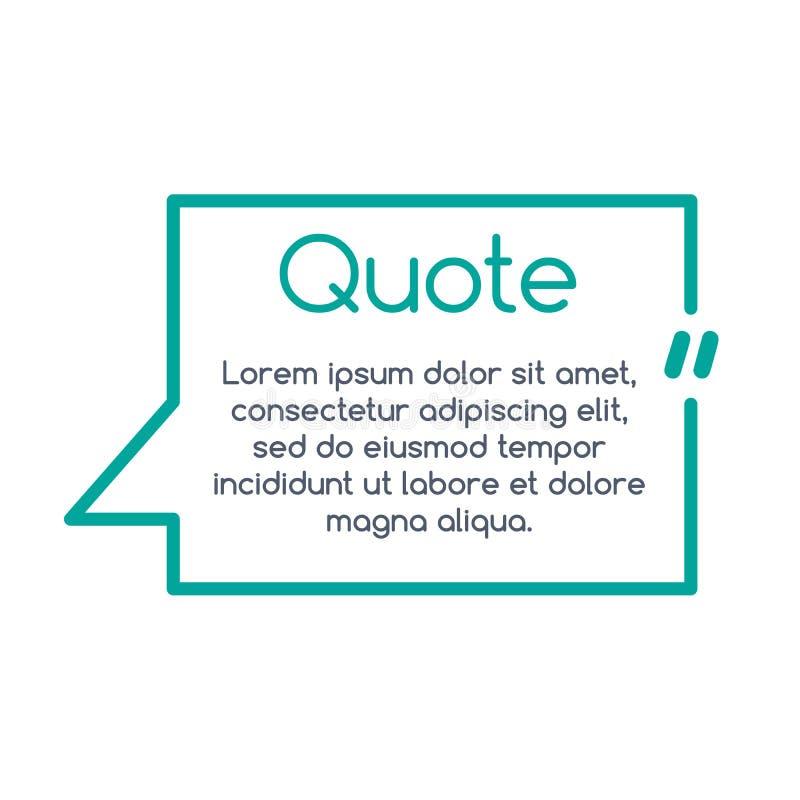 Zitatspracheblase, Schablone, Text in den Klammern, Zitatrahmen, Zitatkasten Auch im corel abgehobenen Betrag vektor abbildung