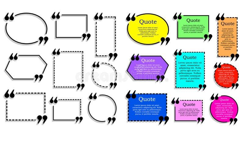 Zitattextrahmen VEKTOR-Satz, gefärbt und Entwurfszitatkästen lokalisiert auf Weiß lizenzfreie abbildung