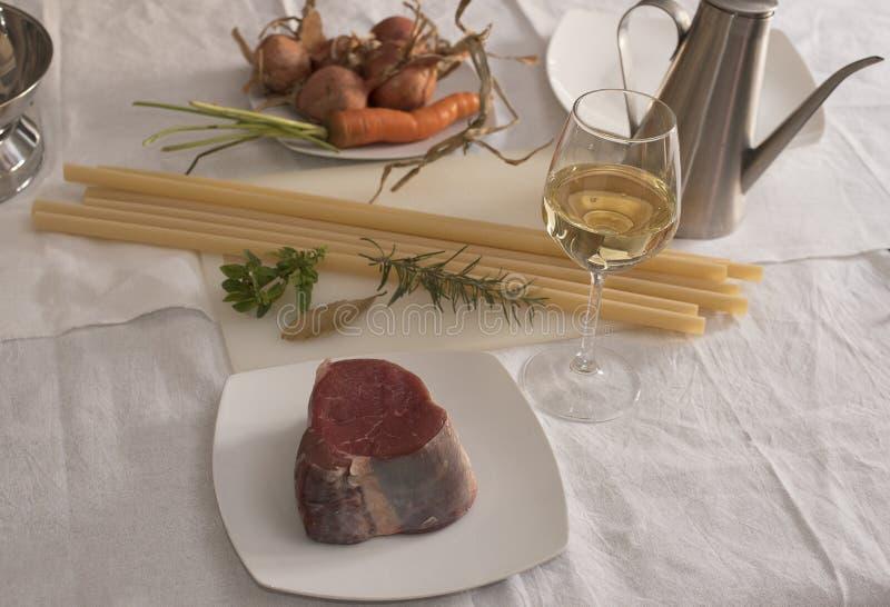 Ziti (Long pasta of durum wheat) Genoese ingredients royalty free stock images