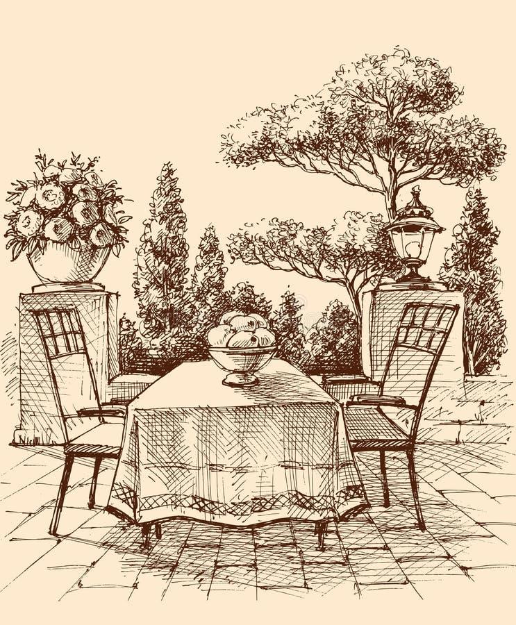 Zitkamer, restaurant of huisterras vector illustratie