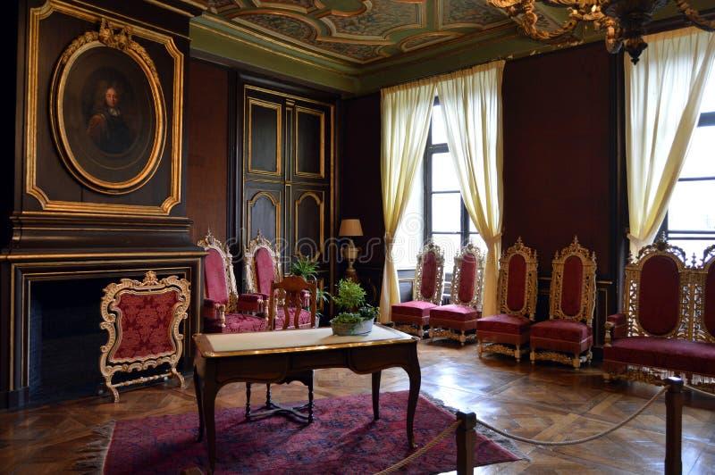 Zitkamer van publiek in een kasteel royalty-vrije stock afbeelding