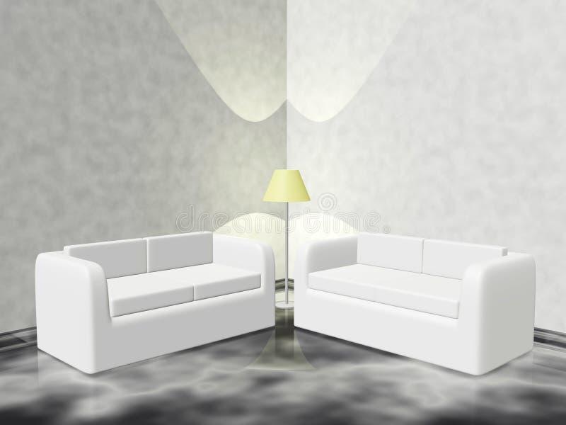 Zitkamerhoek met Laagbanken en Lamp vector illustratie