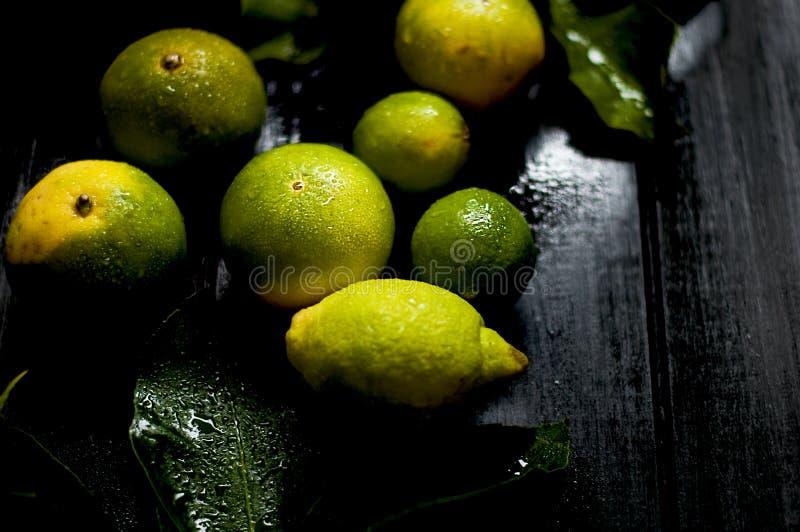 Zitrone auf einem Zweig mit Blättern Schwarzer Hintergrund Dunkles Foto Nasse Frucht stockfoto