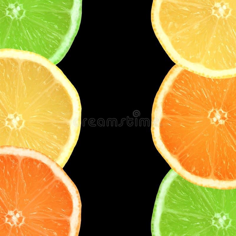 Zitrone, Kalk und orange Scheiben stockbilder