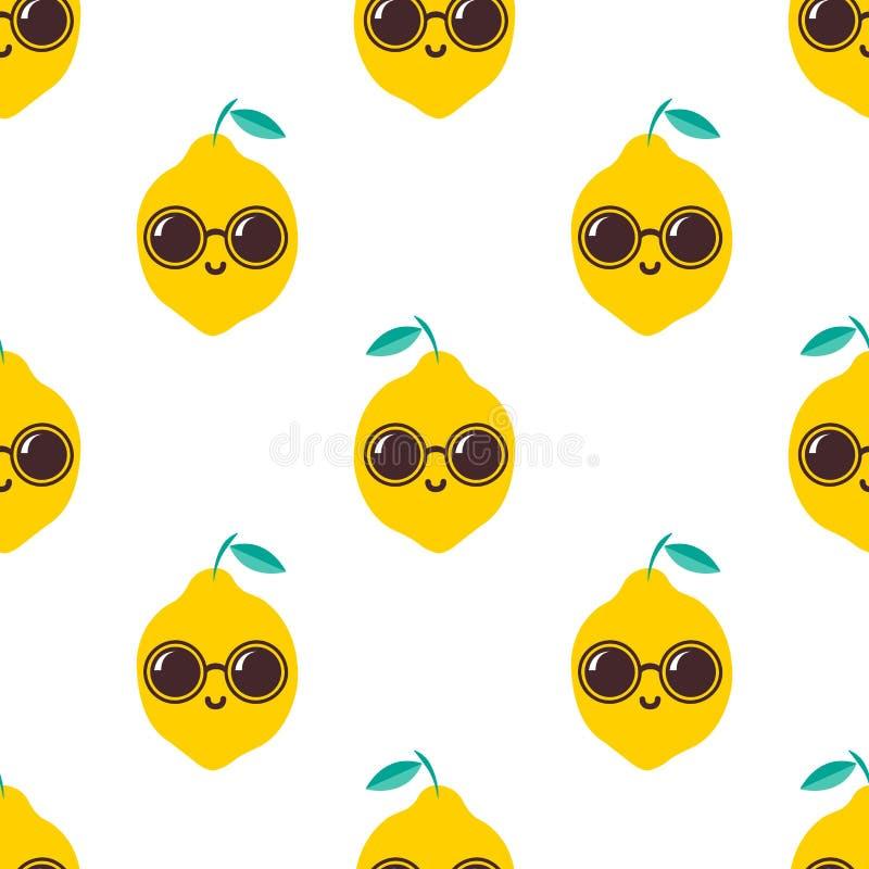 Zitrone mit Sonnenbrillemuster vektor abbildung