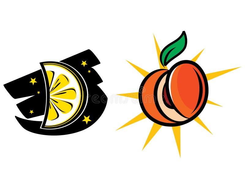 Zitrone-Mond und Pfirsich Sun lizenzfreie abbildung