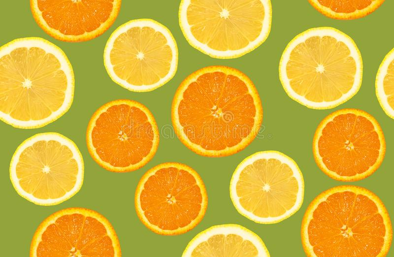 Zitrone und Orange schnitten Muster, nahtlosen Hintergrund stockbilder