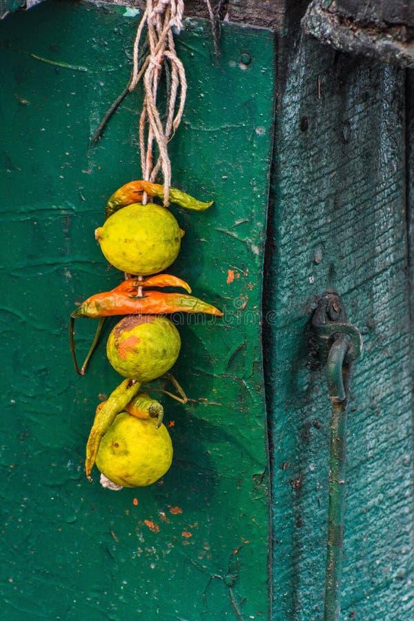 Zitrone und Paprikas gebunden zusammen mit einem Faden, einem alias totka oder einem Nazar-battu lizenzfreie stockfotos