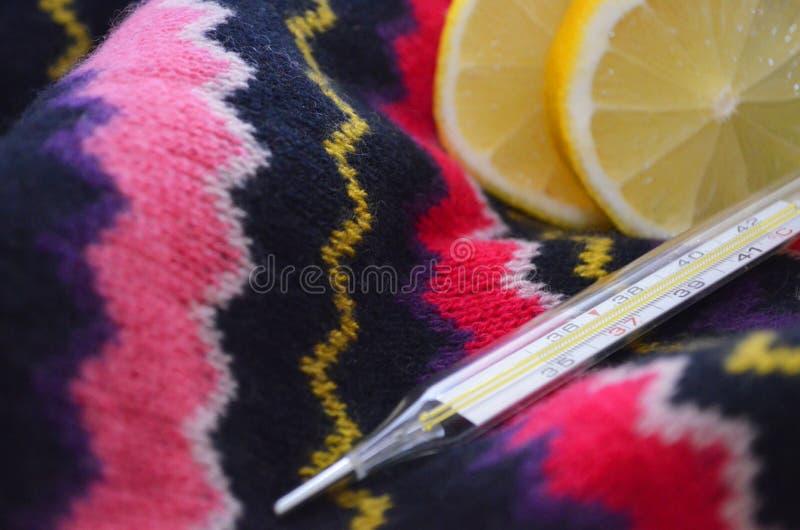 Zitrone und Thermometer, Abschluss oben lizenzfreie stockbilder