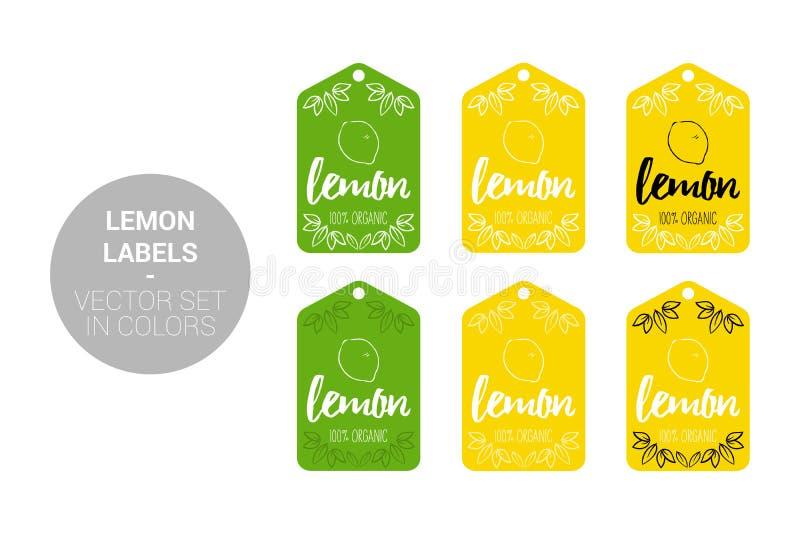 Zitronenfrucht Eco-Aufkleber-Vektorsatz in den grünen, gelben Farben vektor abbildung