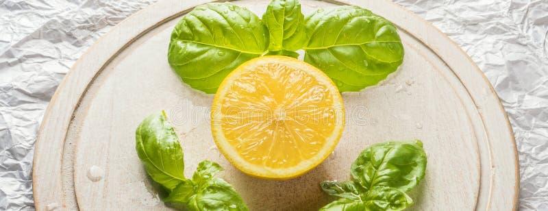 Zitronenfruchtscheibe und Blattbündel Basilikum stockbild