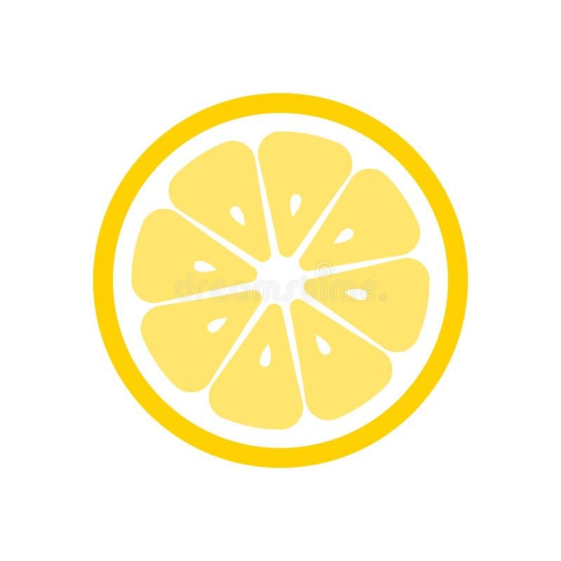 Zitronenfruchtscheiben-Nahaufnahmeikone, rundes Stück der Zitrone Logodesign, flache Vektorillustration stock abbildung