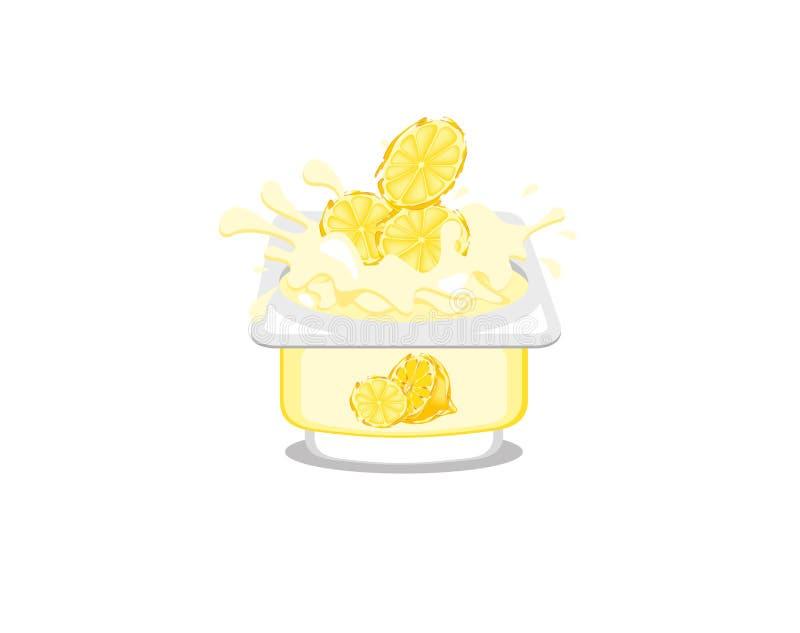 Zitronenjoghurt stock abbildung