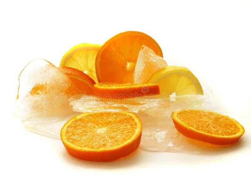 Zitrusfrucht auf Eis lizenzfreies stockbild