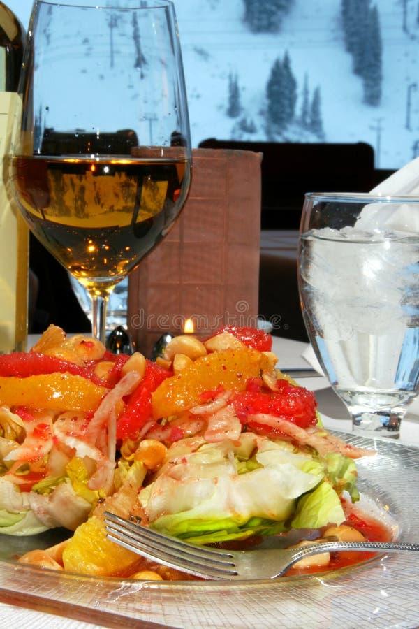 Zitrusfruchtsalat und -wein stockfotos
