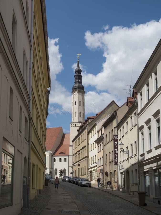 Zittau, Saxony, Niemcy, Lipiec 11, 2019: Historyczny stary miasteczko Zittau z St Pauls kościół Lato s?oneczny dzie?, niebieskie  zdjęcia stock