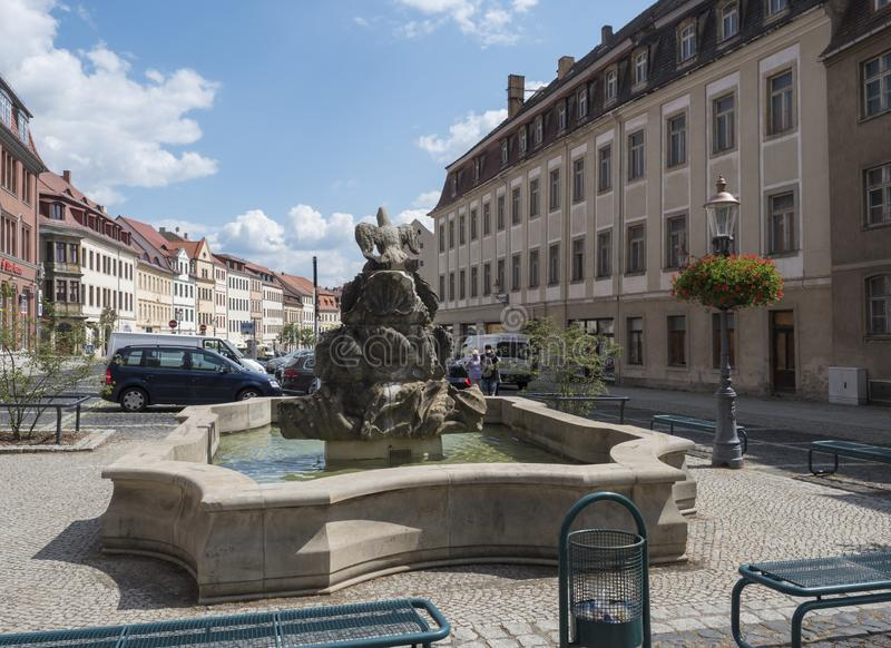 Zittau, Saxony, Niemcy, Lipiec 11, 2019: Stary targowy kwadrat Zittau z barokową fontanną Historyczny stary grodzki lato fotografia stock