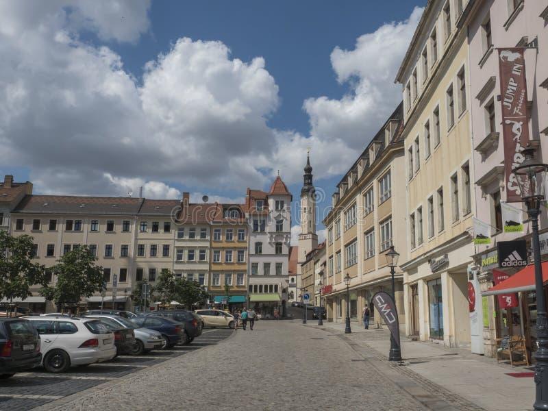 Zittau, Saxony, Niemcy, Lipiec 11, 2019: Stary targowy kwadrat Zittau z St Pauls kościół Historyczny stary grodzki lato fotografia stock