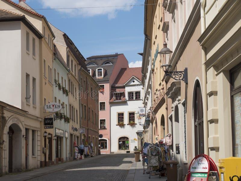 Zittau, Saxony, Niemcy, Lipiec 11, 2019: Ulicy Historyczny stary miasteczko Zittau lata słoneczny dzień, niebieskiego nieba tło obrazy royalty free