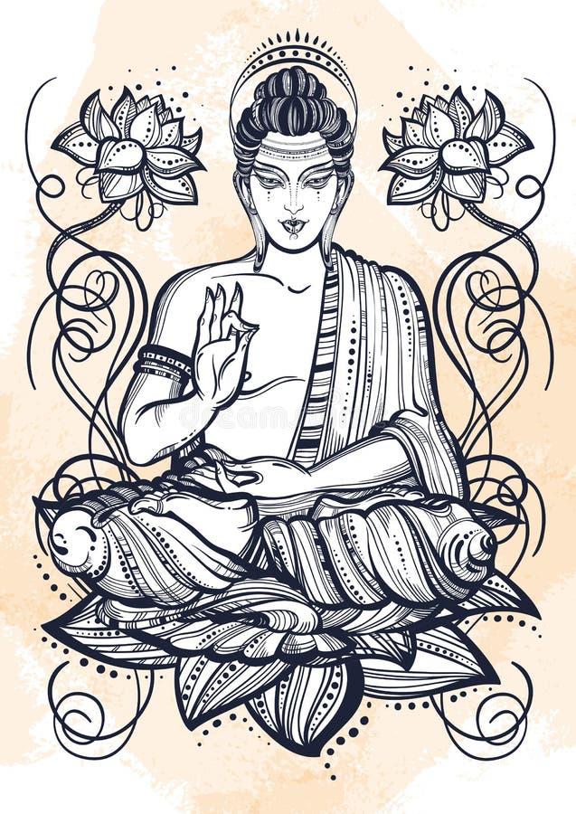 Zitting Boedha over lotusbloembloemen Hand-drawn mooie vectorkunst, grafische illustratie De achtergrond van de landhuiswaterverf vector illustratie