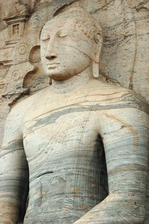 Zitting Boedha in Polonnaruwa, Ceylon royalty-vrije stock fotografie
