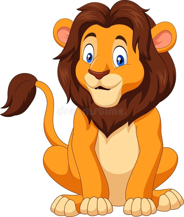 Zitting van de beeldverhaal de gelukkige leeuw royalty-vrije illustratie