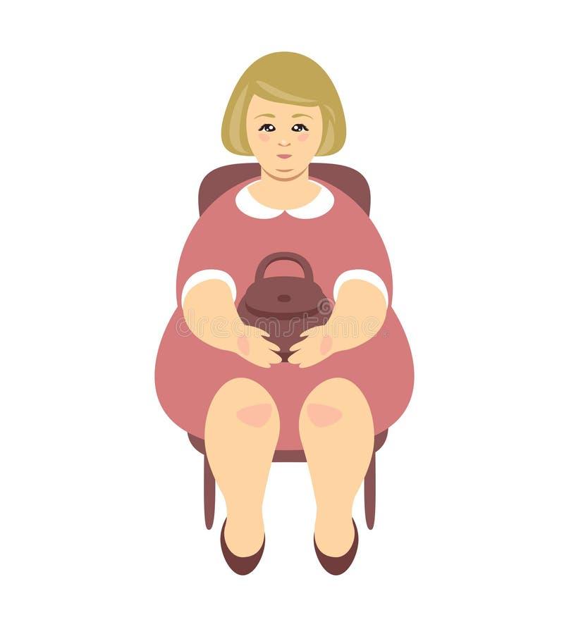 Zitting van de blonde de te zware vrouw op een stoel Vector royalty-vrije illustratie