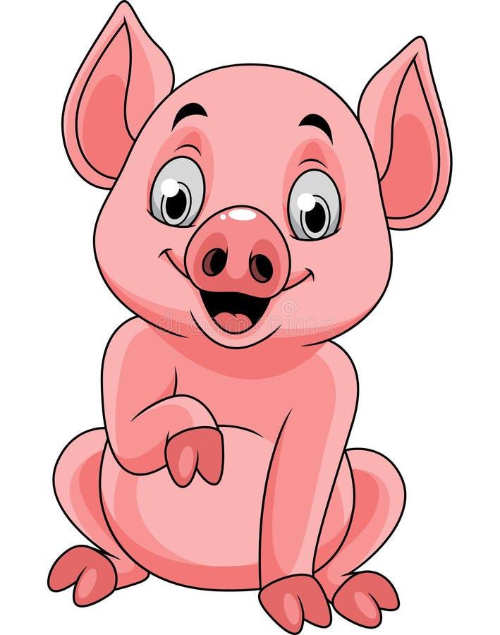 Zitting van het beeldverhaal de gelukkige varken royalty-vrije illustratie