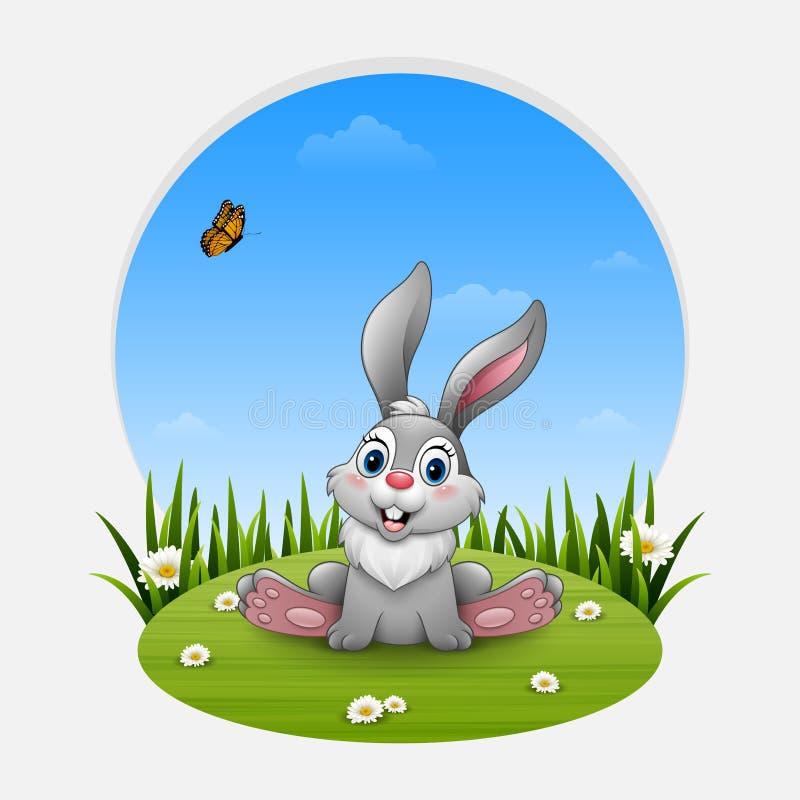 Zitting van het beeldverhaal de grappige konijn op het gras vector illustratie