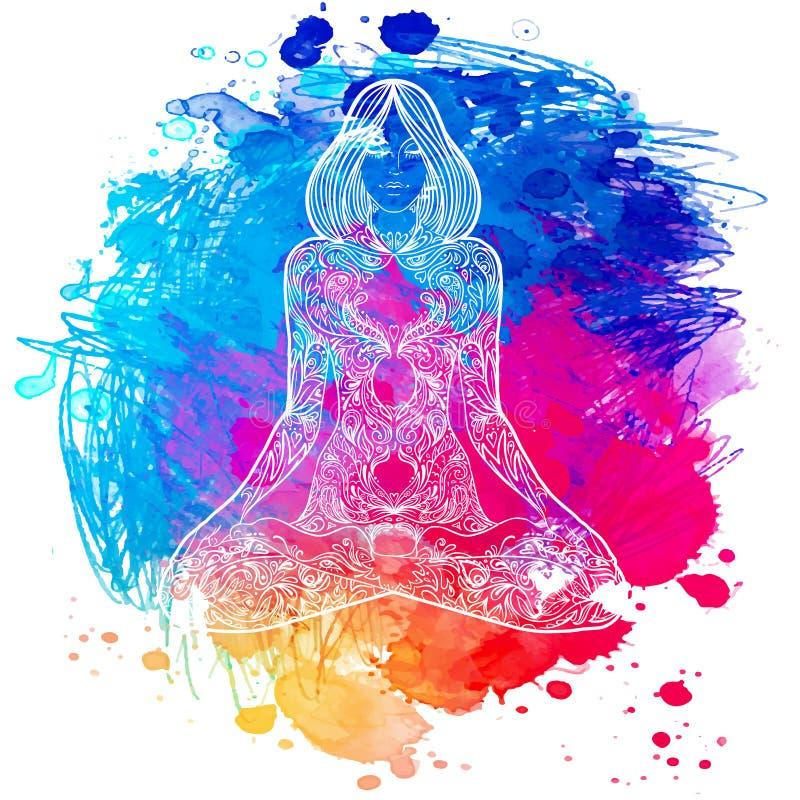Zitting van het vrouwen stelt de overladen silhouet in lotusbloem Meditatie concep vector illustratie