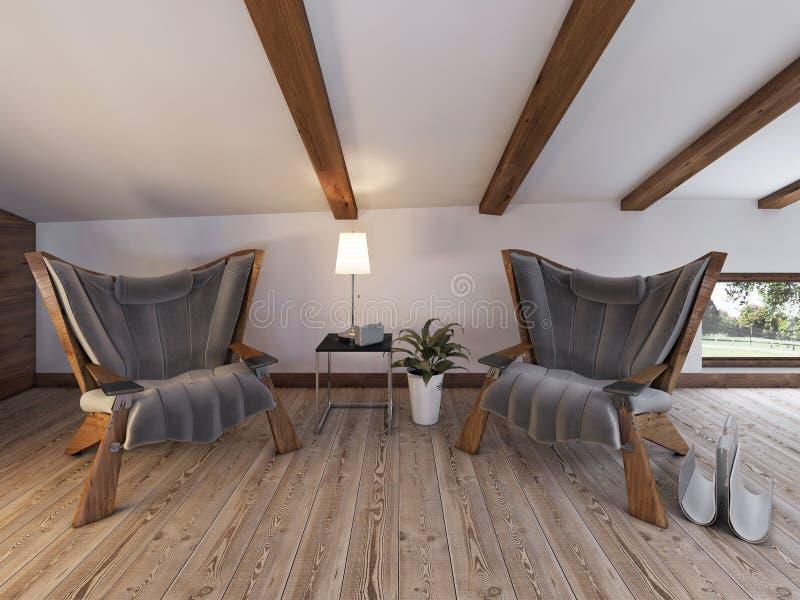 Zittingsgebied met twee comfortabele stoelen, een bureau met een lamp en royalty-vrije stock foto