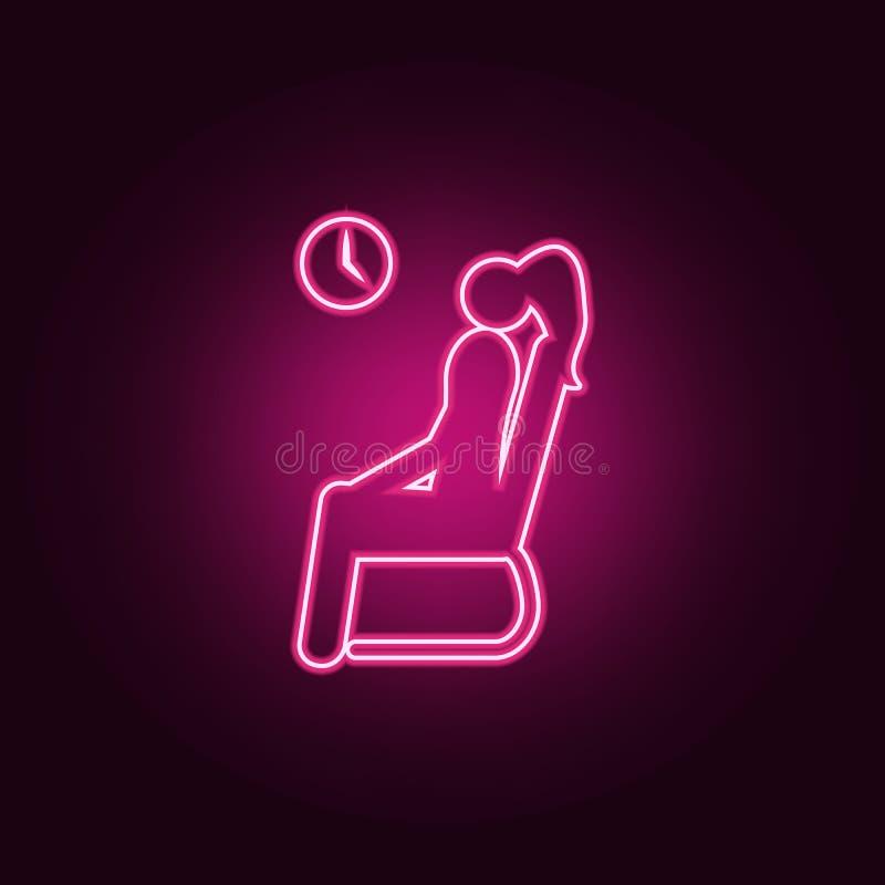 zittingsmeisje die op haar vluchtpictogram wachten Elementen van Luchthaven in de pictogrammen van de neonstijl Eenvoudig pictogr vector illustratie